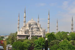 Rooftop view of the Blue Mosque, Istanbul, Turkey. A view of the Blue Mosque with minarets from a nearby roof Stock Photo