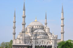 Rooftop view of the Blue Mosque, Istanbul, Turkey. A view of the Blue Mosque with minarets from a nearby roof Royalty Free Stock Photography