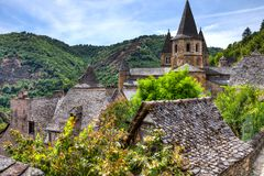 Rooftop view of the buildings of Conques France
