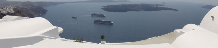Rooftop view of Caldera, Cruisehips, Santorini Stock Photos