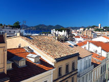 Rooftop view Cannes France old town fort in background. Rooftop view of Cannes France French Riviera old town fort in background Royalty Free Stock Photography