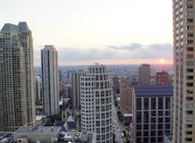 Chicago Skyline. Rooftop view of Chicago buildings at sunset stock images
