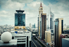 Rooftop view of Dubai's business bay towers. Famous Dubai's landmark. Royalty Free Stock Photo