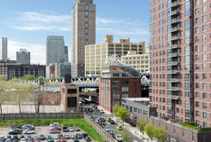 Rooftop view of Dumbo, the Manhattan Bridge, and Downtown Brooklyn. Rooftop view of Dumbo looking towards Downtown Brooklyn separated by the Manhattan Bridge stock image