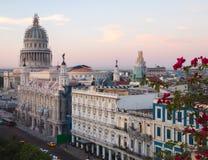 Rooftop view of El Capitolio Building in Havana, Cuba during day break. Early morning bird`s eye view of El Capitolio Building draped with scaffolding in Havana stock photos