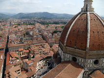 Rooftop view of Florence from the top of Giotto's Campanile with view of the dome of the Cathedral. Florence, Italy Royalty Free Stock Images