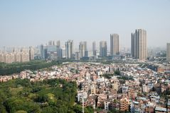 Foshan scenery. Rooftop view of Foshan city and park, China from the top Royalty Free Stock Photo