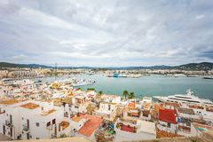 Rooftop view on harbor from Catedral de Santa Maria. IBIZA, SPAIN - OCTOBER 10, 2014: Rooftop view on harbor from Catedral de Santa Maria royalty free stock photos