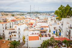 Rooftop view on harbor from Catedral de Santa Maria. IBIZA, SPAIN - OCTOBER 10, 2014: Rooftop view on harbor from Catedral de Santa Maria royalty free stock photography