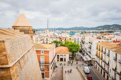 Rooftop view on harbor from Catedral de Santa Maria. IBIZA, SPAIN - OCTOBER 10, 2014: Rooftop view on harbor from Catedral de Santa Maria stock photos