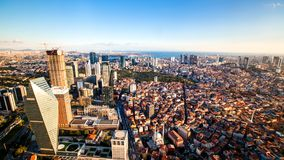 Rooftop view of Istanbul business district and Golden horn. In evening Stock Images