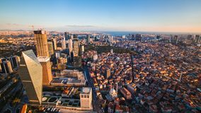Rooftop view of Istanbul business district and Golden horn. In evening Stock Image
