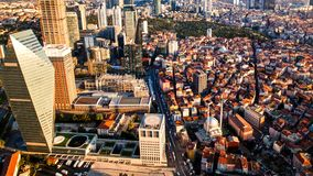 Rooftop view of Istanbul business district and Golden horn. In evening Stock Photos