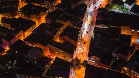 Rooftop view of Istanbul street with traffic at night Stock Photos