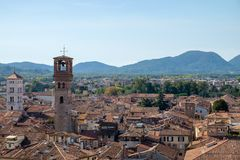 Rooftop view of Lucca, Italy. Beautiful historic town in Tuscany Royalty Free Stock Image