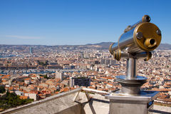 Rooftop view of Marseille with telescope Royalty Free Stock Image