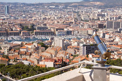 Rooftop view of Marseille with telescope Stock Image