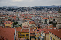 Rooftop view of Nice, France. Rooftop of city center of Nice, France, Historical buildings with red roofs Royalty Free Stock Photo