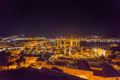 Rooftop view at night on harbor from Catedral de Santa Maria. IBIZA, SPAIN - OCTOBER 10, 2014: Rooftop view at night on harbor from Catedral de Santa Maria stock photography