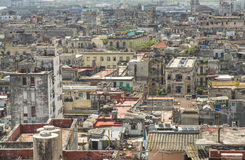 Rooftop View Of Old Havana. Looking down on the rooftops of Old Havana, Cuba, as shot from the tower of the Bacardi building Stock Image
