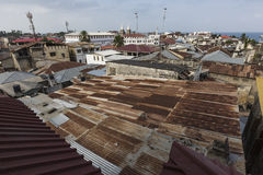 Rooftop view over the african city of stonetown zanzibar showing Stock Image