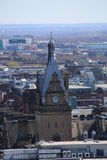 A rooftop view over central Glasgow, Scotland, UK. A unique rooftop view over central Glasgow looking East. The Clock Tower at Glasgow Central Station Royalty Free Stock Photos