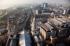 rooftop view over London on a foggy day from St Paul& x27;s cathedral Stock Photography