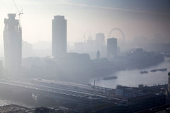 rooftop view over London on a foggy day from St Paul& x27;s cathedral Stock Images