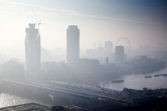 rooftop view over London on a foggy day from St Paul& x27;s cathedral Stock Photos