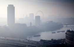 rooftop view over London on a foggy day from St Paul& x27;s cathedral Stock Image