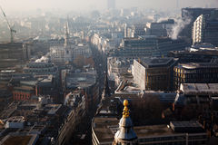 rooftop view over London on a foggy day from St Paul& x27;s cathedral Stock Photo