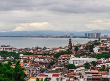 Rooftop view over old Puerto Vallarta. A look at the old and the new looking into Puerto Vallarta Stock Image
