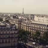 Rooftop view in Paris. Nice view to the eiffel tower from the roof stock images