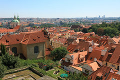 Rooftop view of Prague. Cityscape view of old Prague, lot of tiled roofs, Czech republic Royalty Free Stock Image