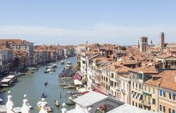 Rooftop view of the Rialto area of the Grand Canal, Venice, Ital Stock Photography