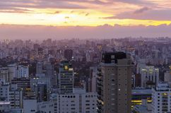 Rooftop view of Sao Paulo. View of Sao Paulo at night stock photography