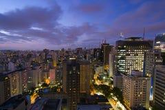Rooftop view of Sao Paulo. View of Sao Paulo at night royalty free stock photo