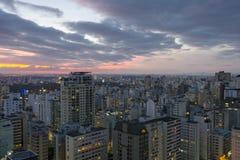Rooftop view of Sao Paulo. View of Sao Paulo at night stock photos