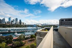 Rooftop view of Sydney Skyline. Potts Point, Sydney, Australia -September 03, 2018: Sydney Skyline and Woolloomoollo Bay Rooftop View from a building in Potts royalty free stock photography