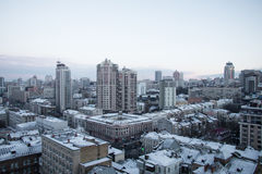 The rooftop view to Kiev city in early winter morning Stock Photography