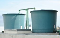 Rooftop water tanks Royalty Free Stock Images
