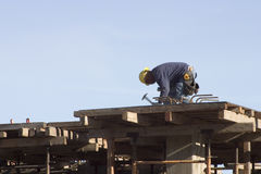 Rooftop Worker Royalty Free Stock Image