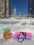 Rooftop Yoga. With views of the empire state building Stock Photos