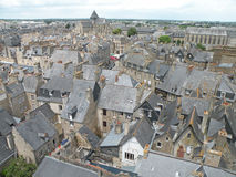 Rooftops. Grey Rooftops in the city of Dinan in France viewed from above Stock Photos