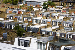 Rooftops. Rows of typical London terraced housing rooftops Royalty Free Stock Photography