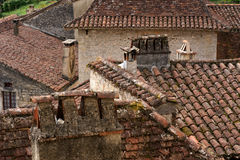 Rooftops in ancient French village. Details of zigzagging rooftops in an authentic ancient French village Stock Photography