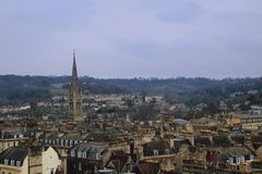 Rooftops of Bath, UK. View of the city of bath. Clear view of the cities rooftops and chimneys Stock Photography