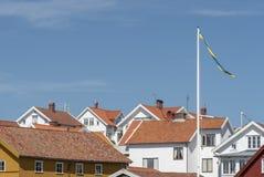 Rooftops in Bohuslan in Sweden. In summer stock photos