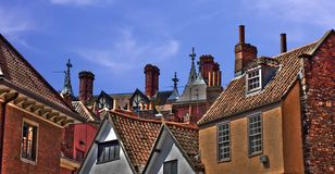 Rooftops: Bricks, chimney pots and aerials Royalty Free Stock Photography