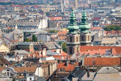 Rooftops of Budapest, University Church, Hungary stock photos
